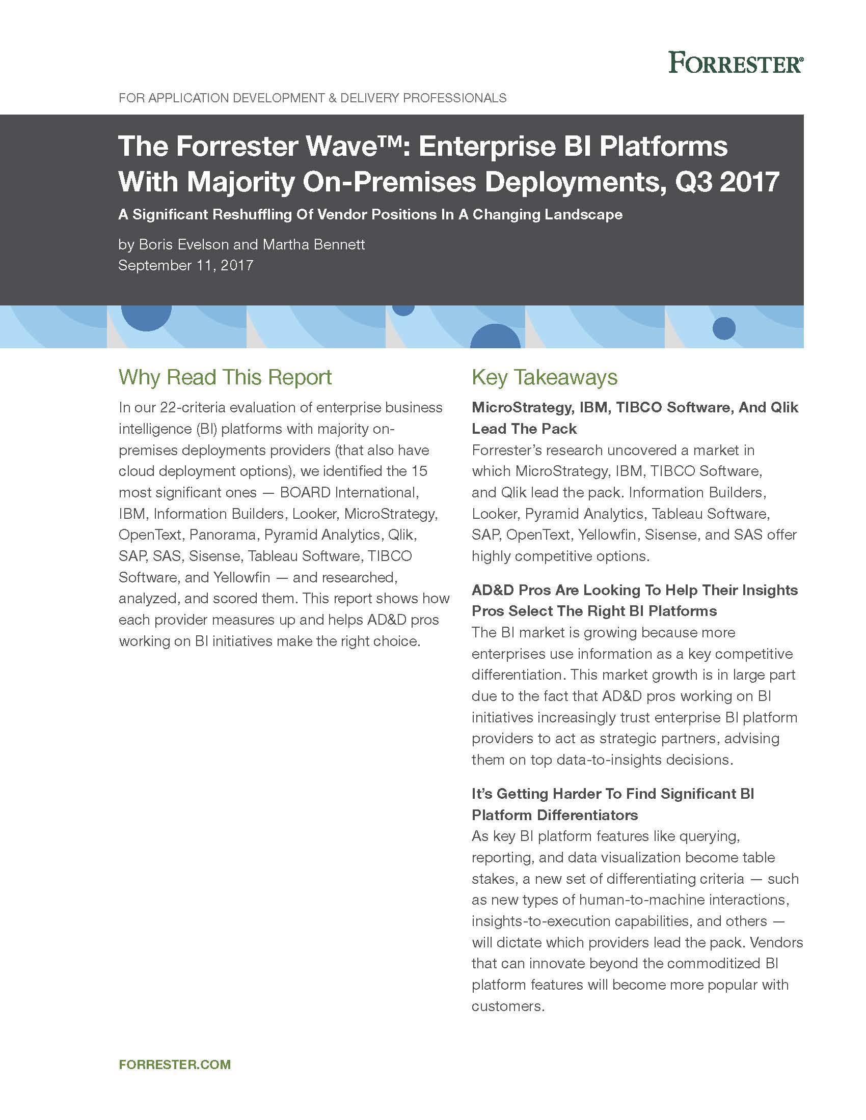 The Forrester Wave™: Enterprise BI Platforms with Majority On